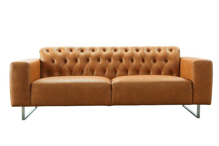 kasper wohndesign sofa aus recyceltem leder cognac luca. Black Bedroom Furniture Sets. Home Design Ideas