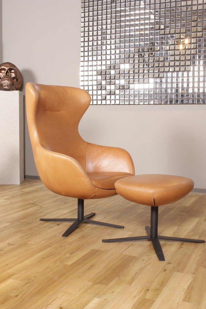 Kasper-Wohndesign Sessel und Hocker Leder Africa Cognac Braun »KAWOLA PAULA«