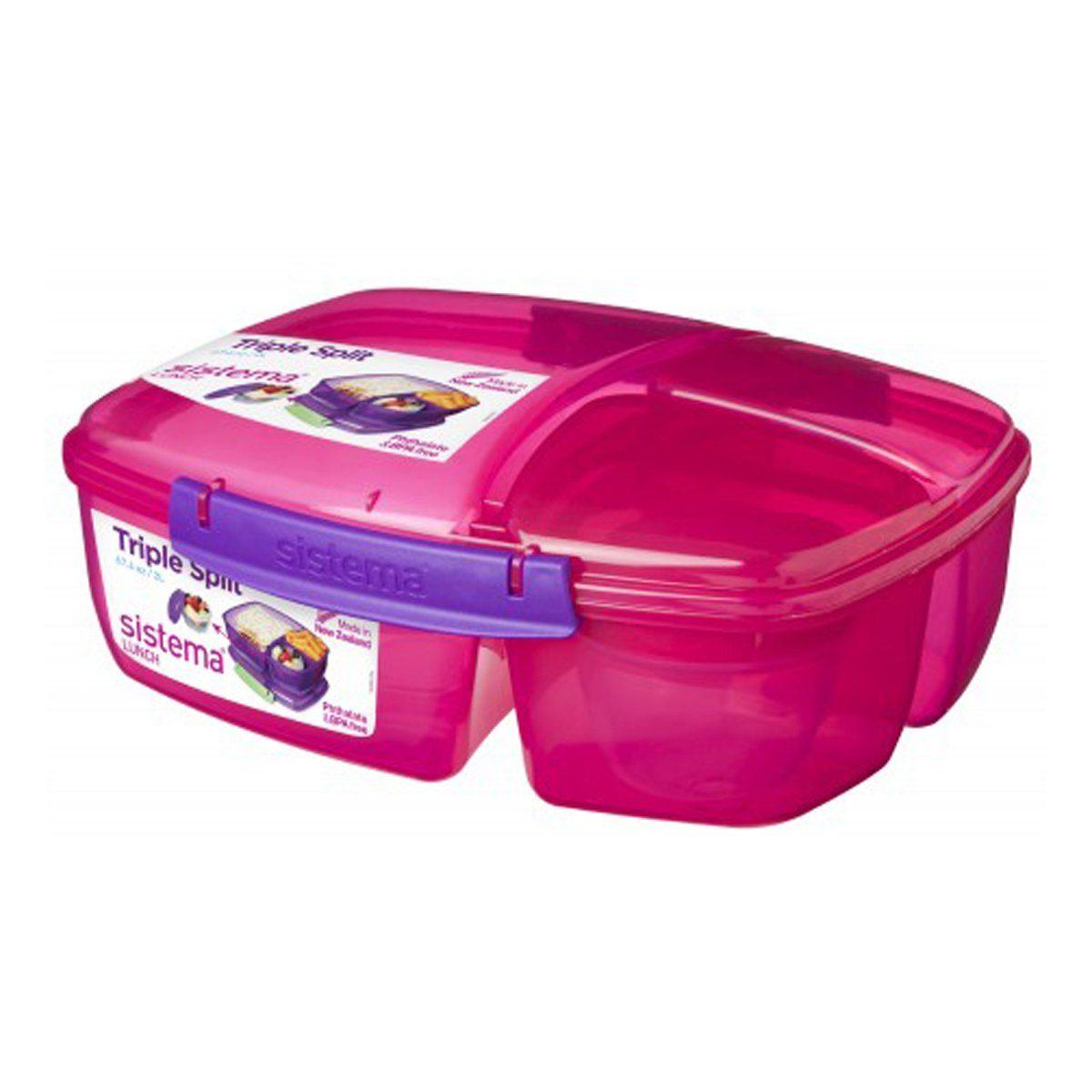 sistema Große Lunchbox Triple Split mit Joghurt Behälter, pink