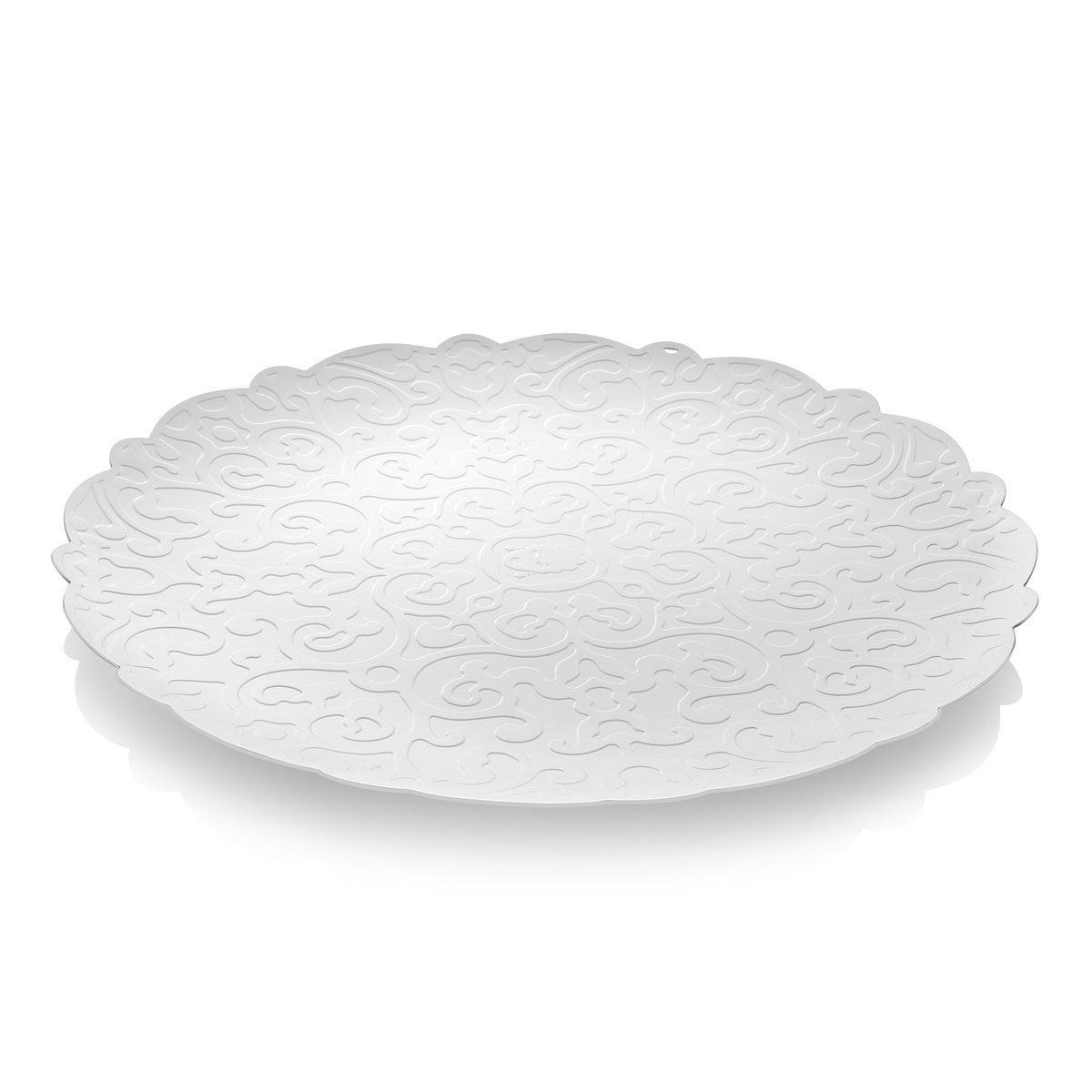Alessi Alessi Tablett mit Relief, weiß 35 cm