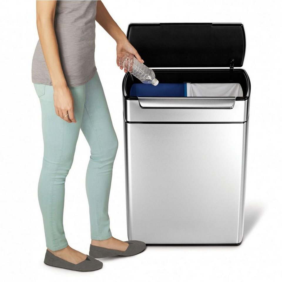 Simplehuman simplehuman abfalleimer touch bar recycler online kaufen otto - Poubelle cuisine tri selectif ...