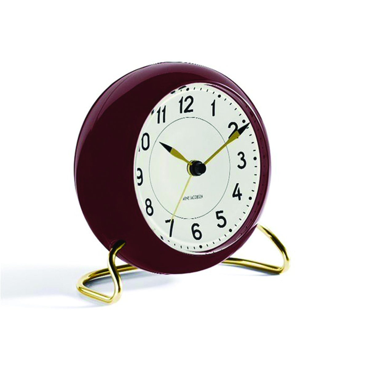 Rosendahl Arne Jacobsen Tischuhr Clock Station mit Alarm rotbraun gold | Dekoration > Uhren > Standuhren | Rotbraun - Gold | Glas - Abs - Gehärtetes - Kunststoff | Rosendahl