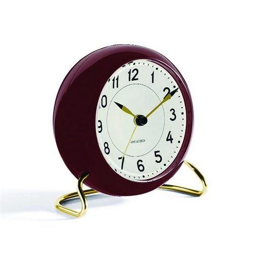 Rosendahl Arne Jacobsen Tischuhr Clock Station mit Alarm rotbraun gold