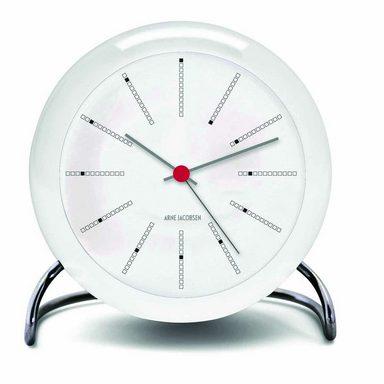 Rosendahl Arne Jacobsen Tischuhr Clock Bankers mit Alarm weiß