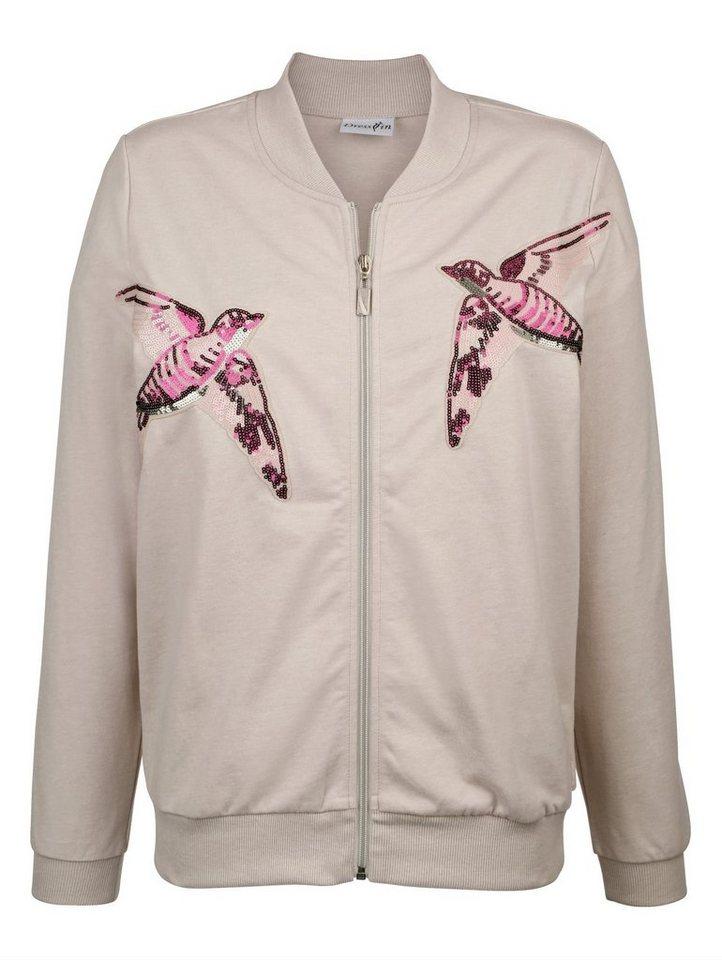 Damen Dress In Sweatblouson mit Paillettenvögeln grau | 04055715671522