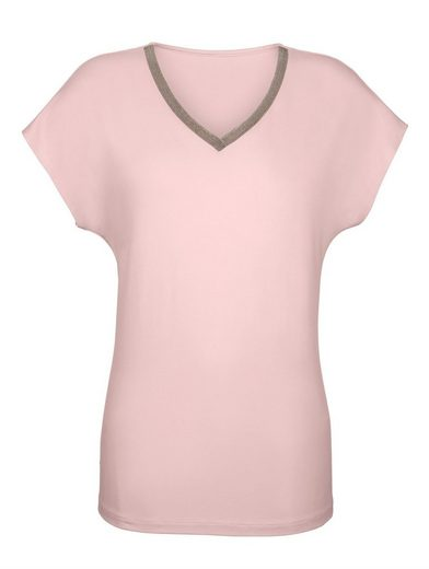 Dress In Shirt Shirt With Elegantly Decorated V-neck