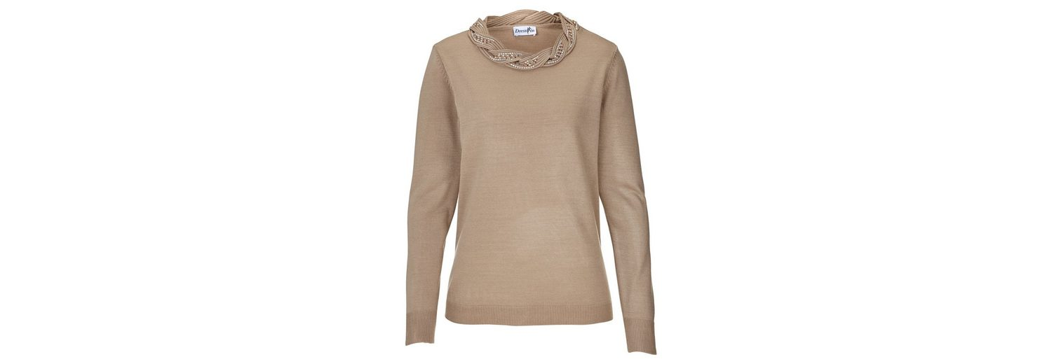 Dress In Pullover mit Flechtmuster und Steinchen