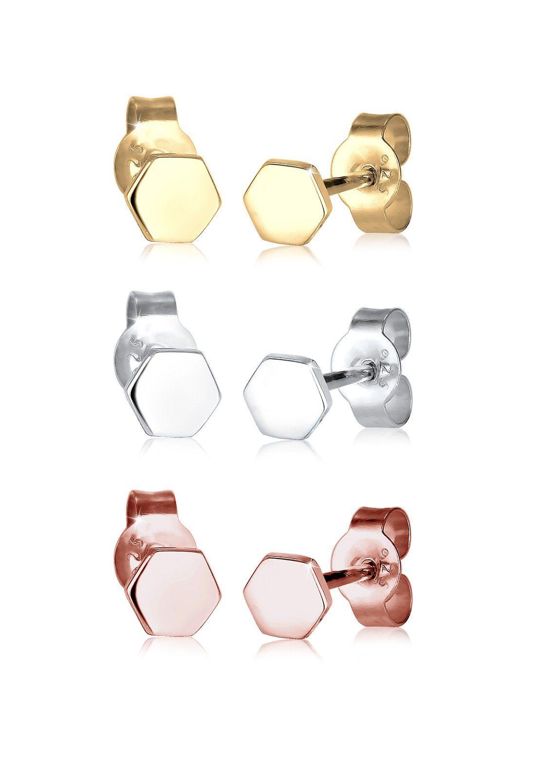 Elli Set: Ohrringe »Hexagon Basic Tricolor 925 Sterling Silber« 3 tlg.