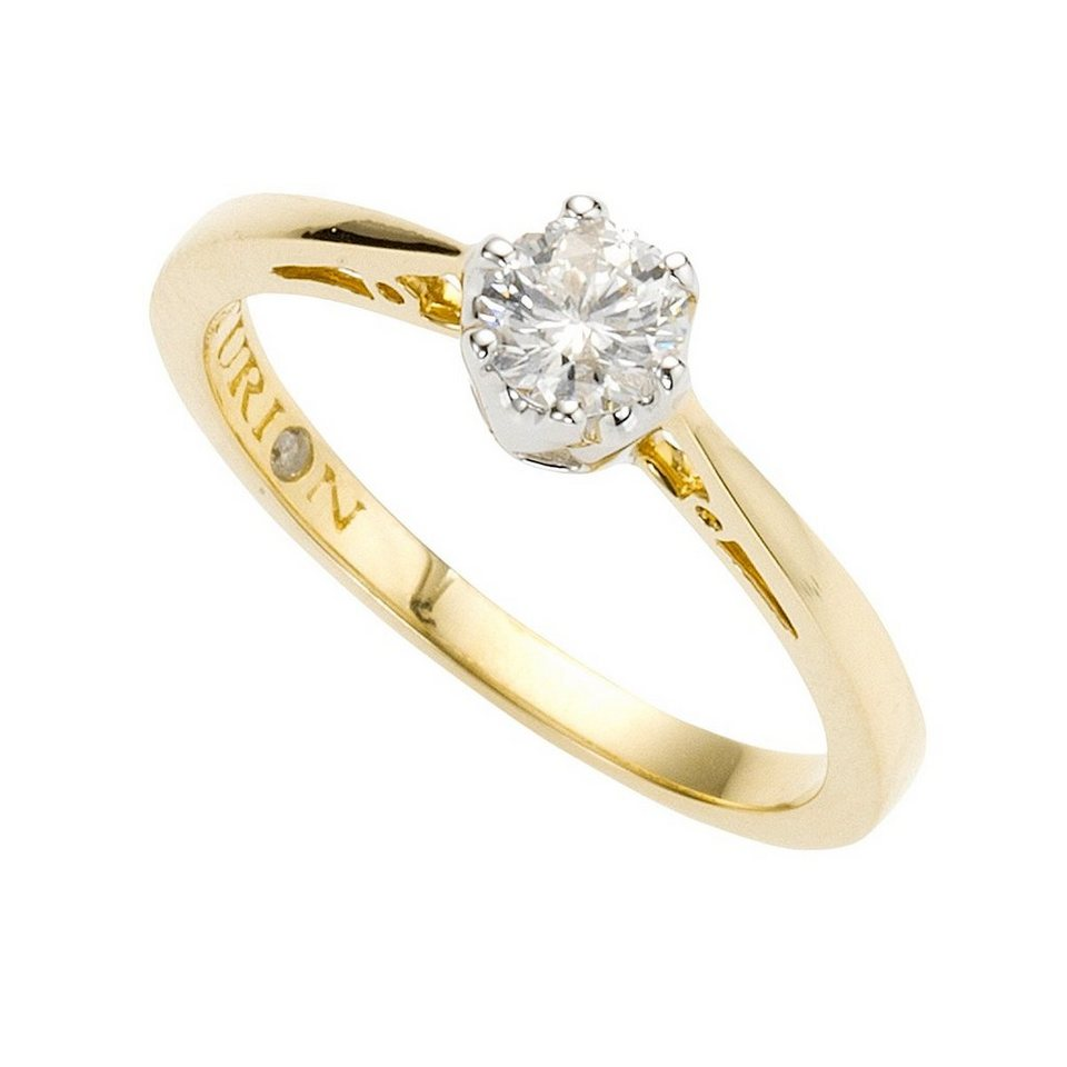 diamonds by ellen k ring 585 gold bicolor brillant 0 25ct online kaufen otto. Black Bedroom Furniture Sets. Home Design Ideas