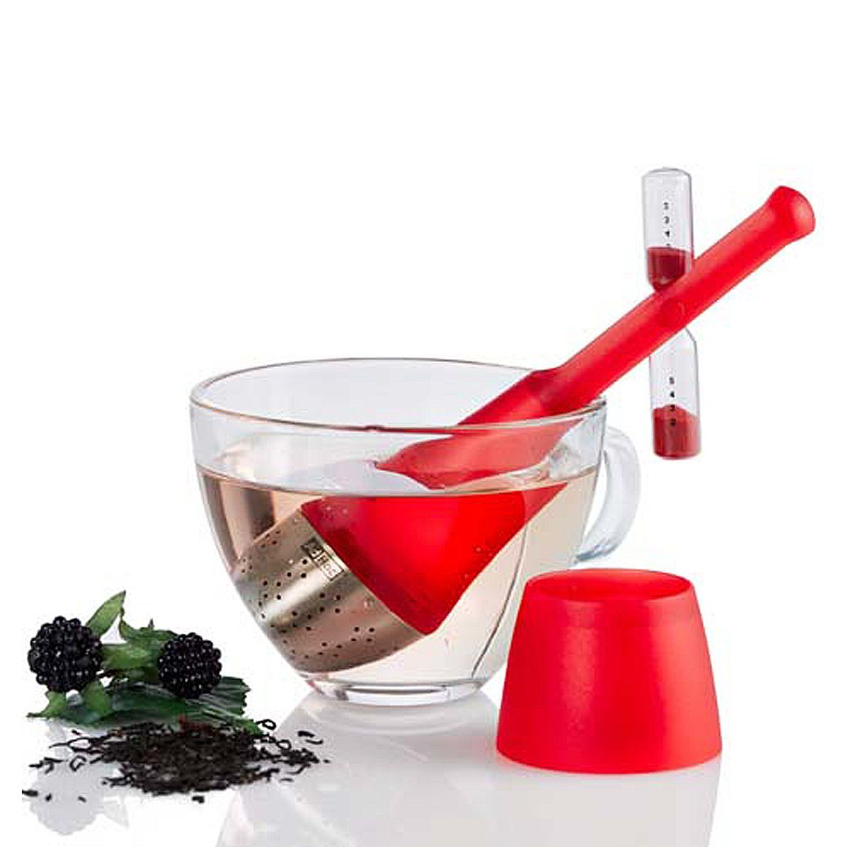 AdHoc AdHoc Teefilter TEA TIME mit drehbarer Sanduhr, rot