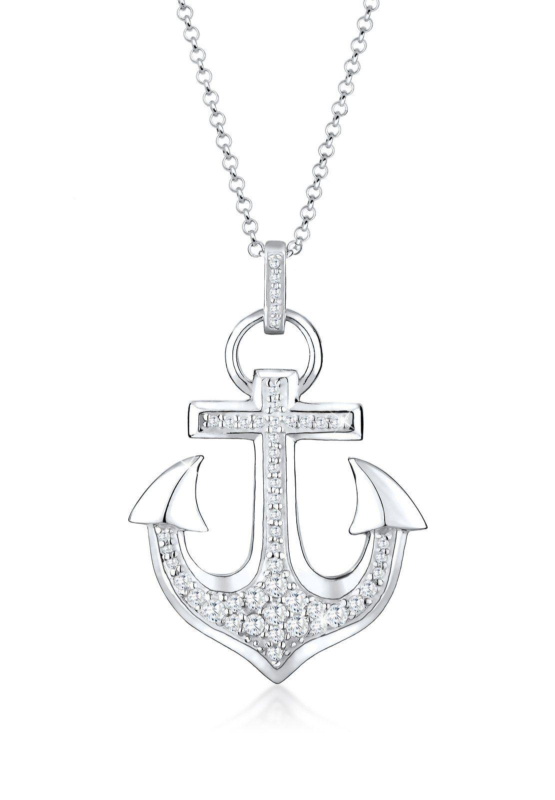 Elli Halskette »Anker Heimat Hafen Zirkonia 925 Sterling Silber«
