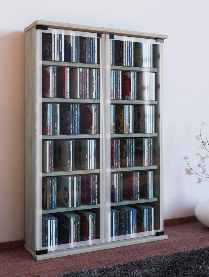 Vcm Cd Dvd Regal Galerie Schrank 2 Glastüren Aus Esg