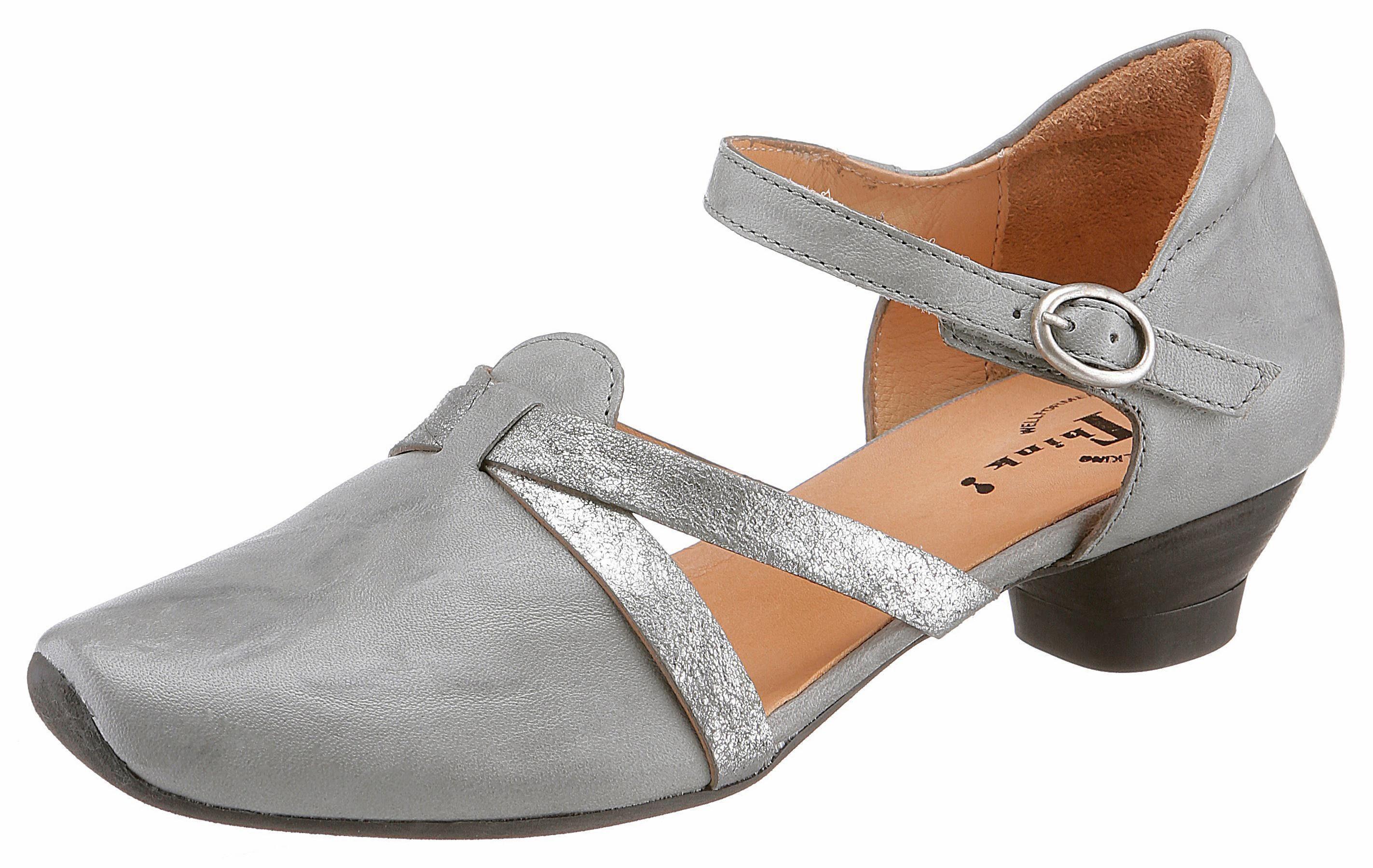 Think! Aida Spangenpumps, aus vegetabil gegerbtem Leder online kaufen  grau-metallicgrau