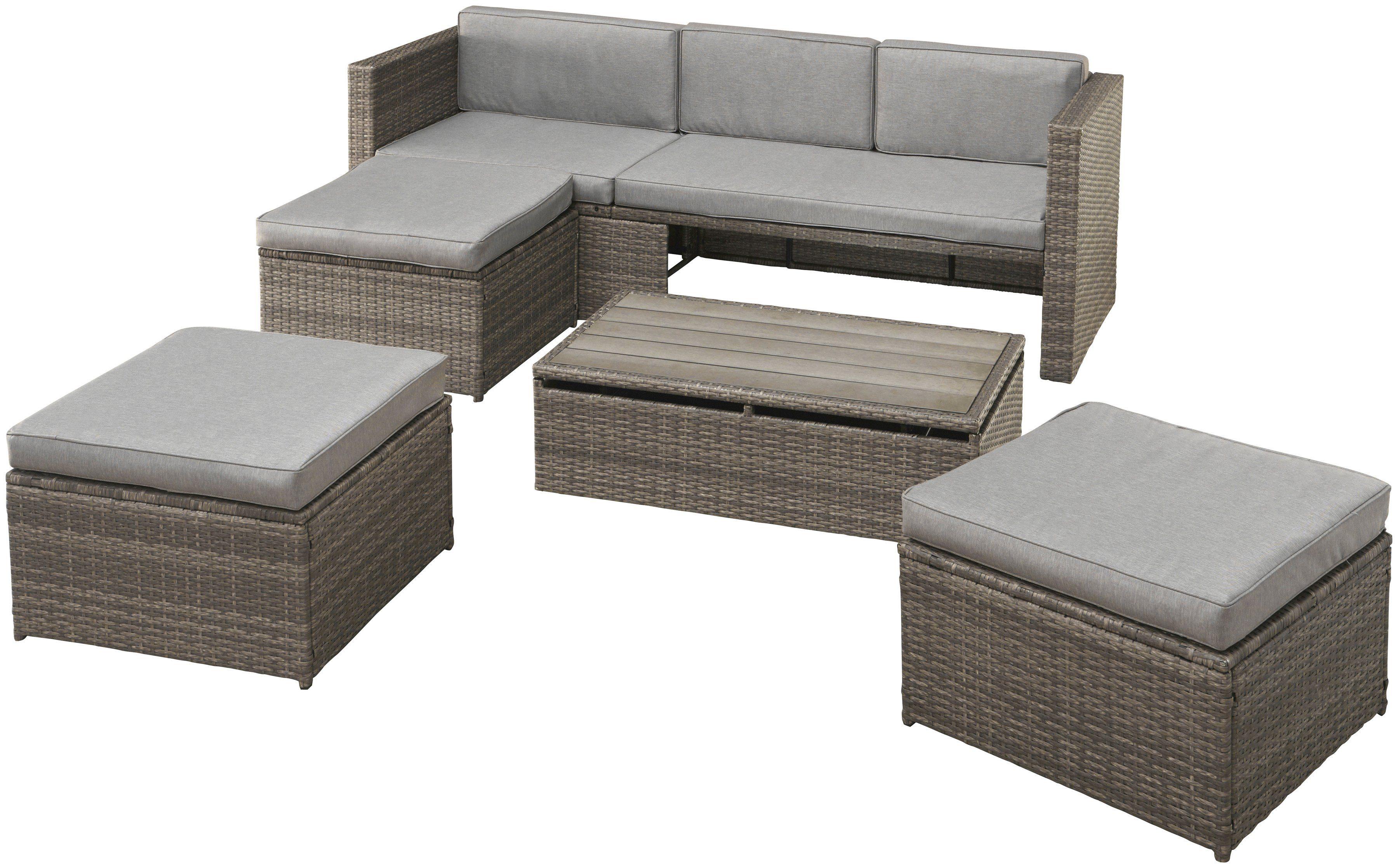 Loungeset »Lagos Premium«, 13-tlg.,3er Sofa,3 Hocker,Tisch, Polyrattan, braun