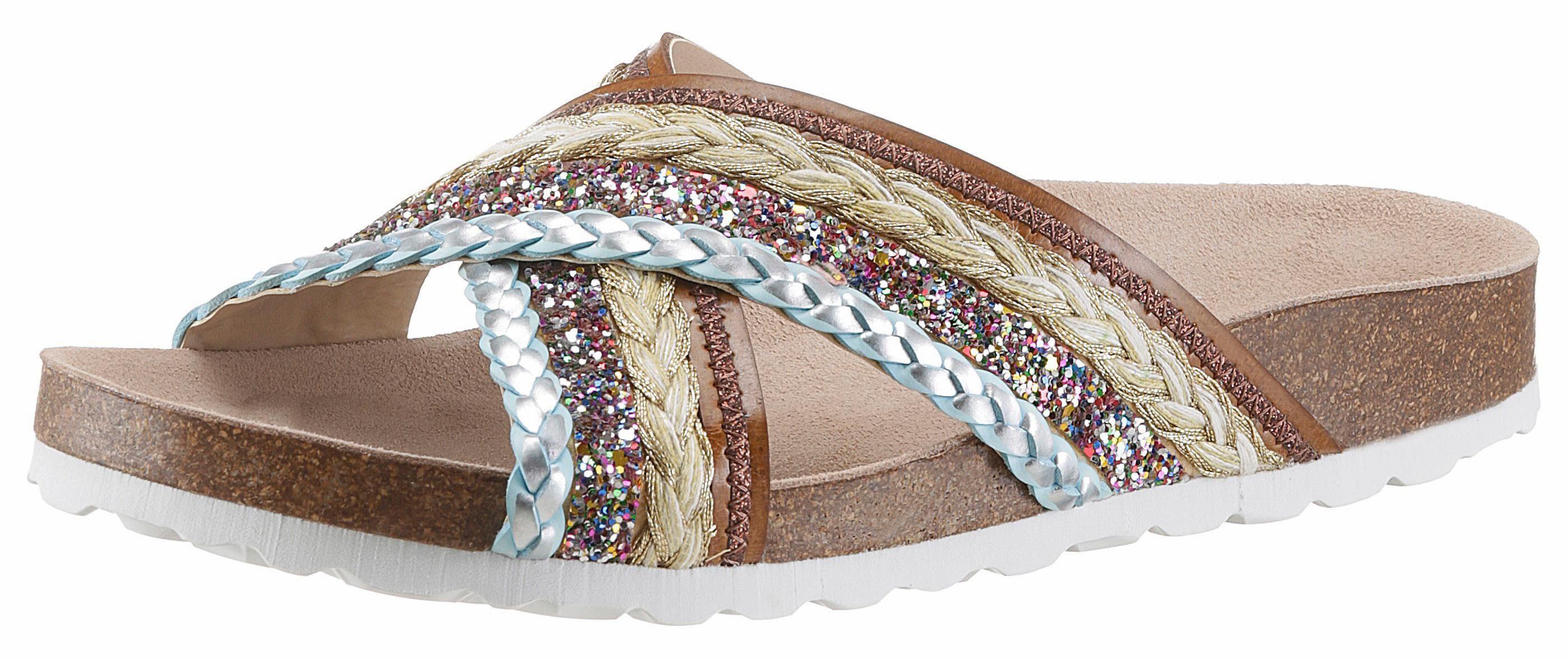 VERBENAS Pantolette, mit Glitter, braun, EURO-Größen, braun-bunt