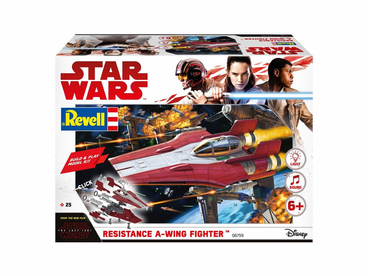 Revell Modellbausatz Raumschiff, »Disney Star Wars Resistance A-Wing Fighter, rot (Build&Play)«
