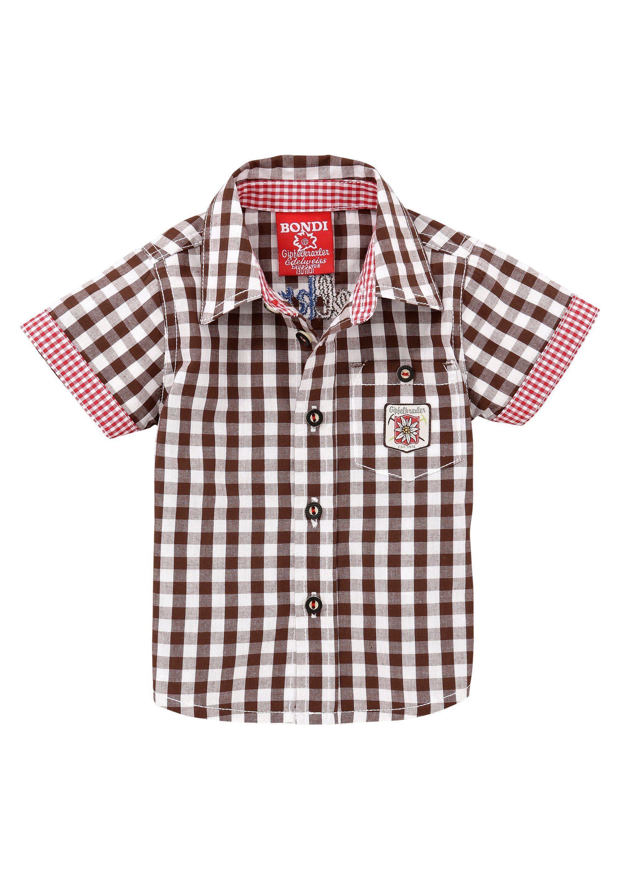 Herren BONDI Trachtenhemd mit Stickerei braun   04042034438516