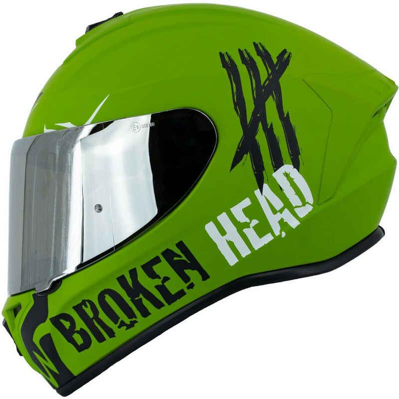 Broken Head Motorradhelm »Adrenalin Therapy 4X Military« (mit klarem und silber verspiegeltem Visier), inklusive 2 Visieren