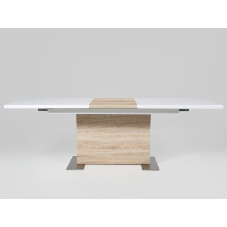 Synoun Esstisch 210x90cm ausziehbar Sonoma Eiche hochglanz weiß »Veneer«