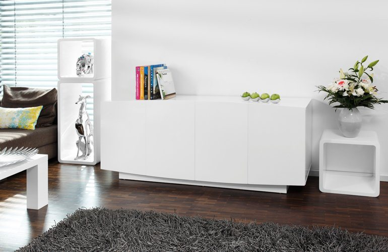 salesfever sideboard mit 4 t ren wei hochglanz 180 x 76. Black Bedroom Furniture Sets. Home Design Ideas