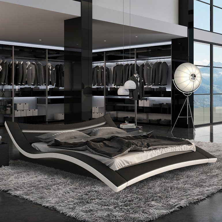 Innocent Polsterbett 180x200cm schwarz/weiß LED-Beleuchtung Farbwechsel »Seducce«