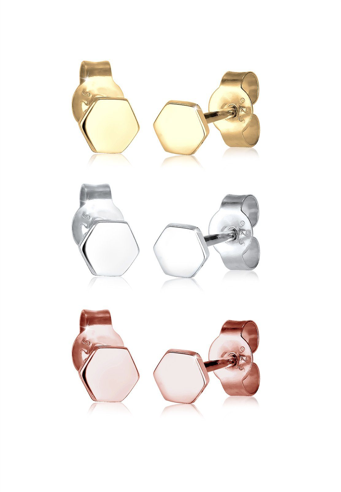 Elli Set: Ohrringe »Hexagon Basic Tricolor 925 Sterling Silber« 3 tlg.
