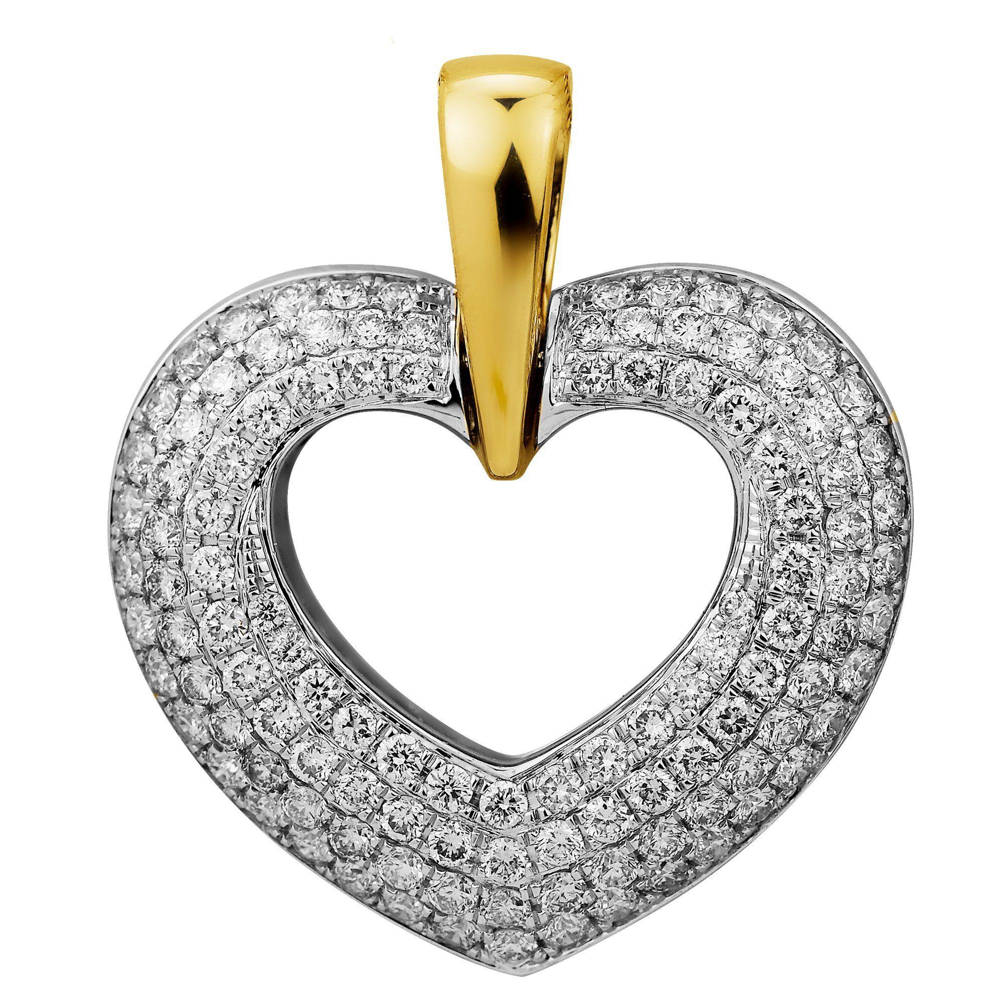 Diamonds by Ellen K. Anhänger »750/- Gelbgold/Weißgold Brillant 2,16ct Herz«