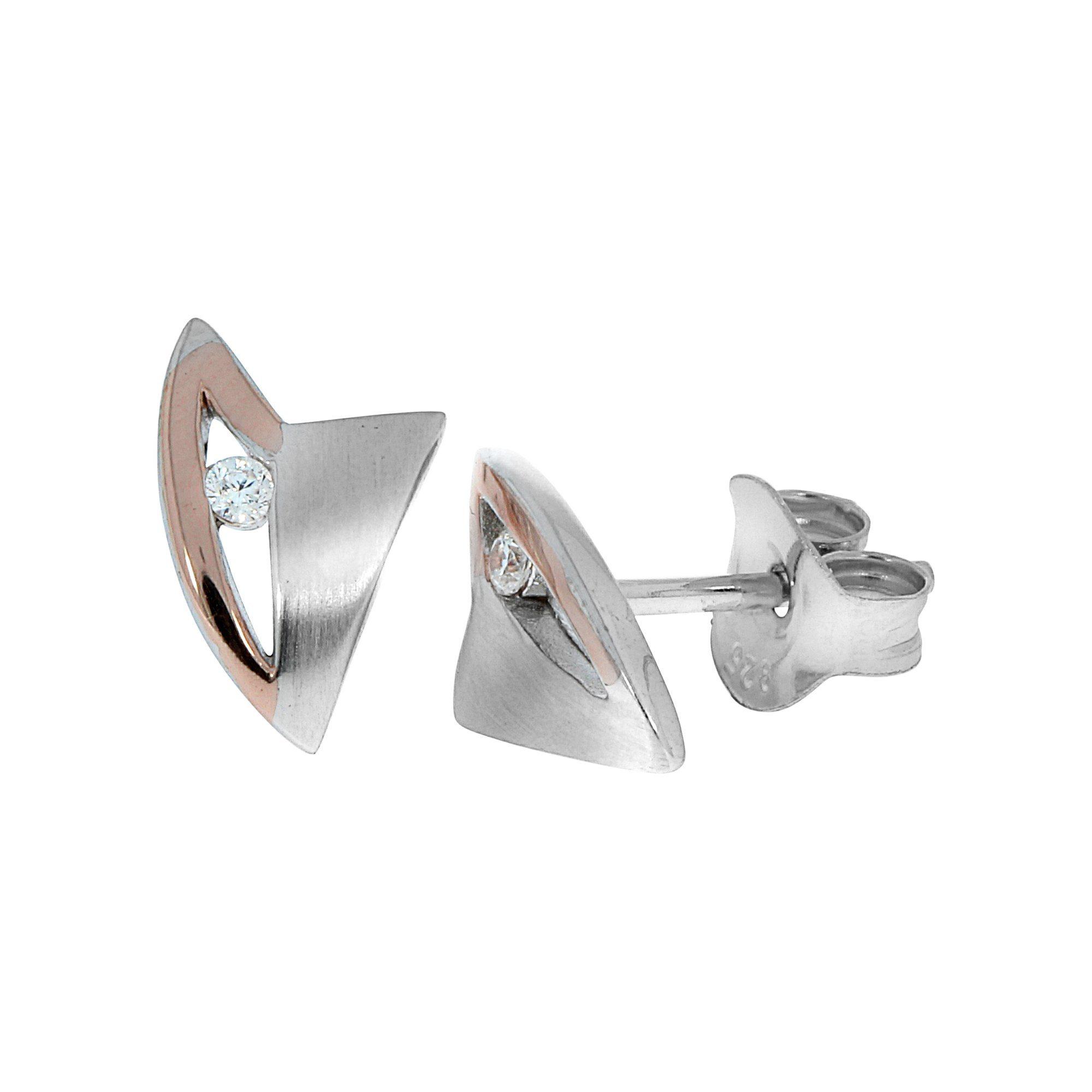 Zeeme Ohrstecker »925/- Sterling Silber bicolor mit Zirkonia«