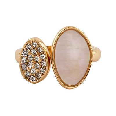 Buckley London Ring vergoldet mit Perlmutt und Kristallen