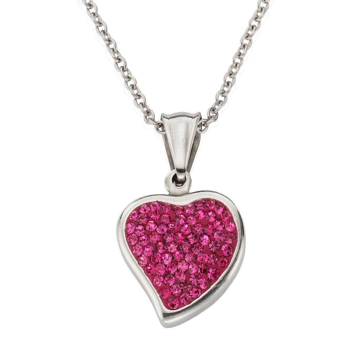 Zeeme Anhänger mit Kette »Edelstahl Kristalle rosa«