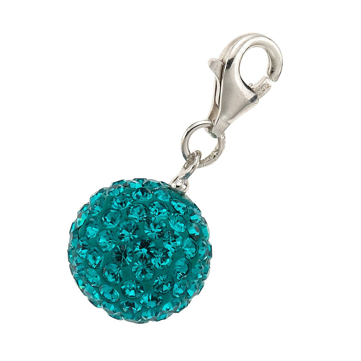 Zeeme Charm »925/- Sterling Silber Kristall türkisblau«