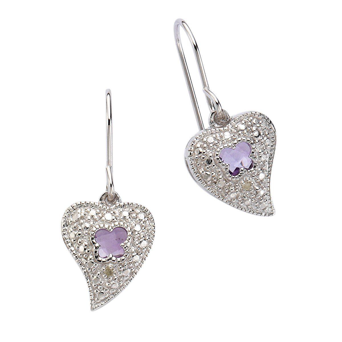 Diamonds by Ellen K. Ohrhänger »925/- Silber Amethyst und Diamant 0,01ct.«