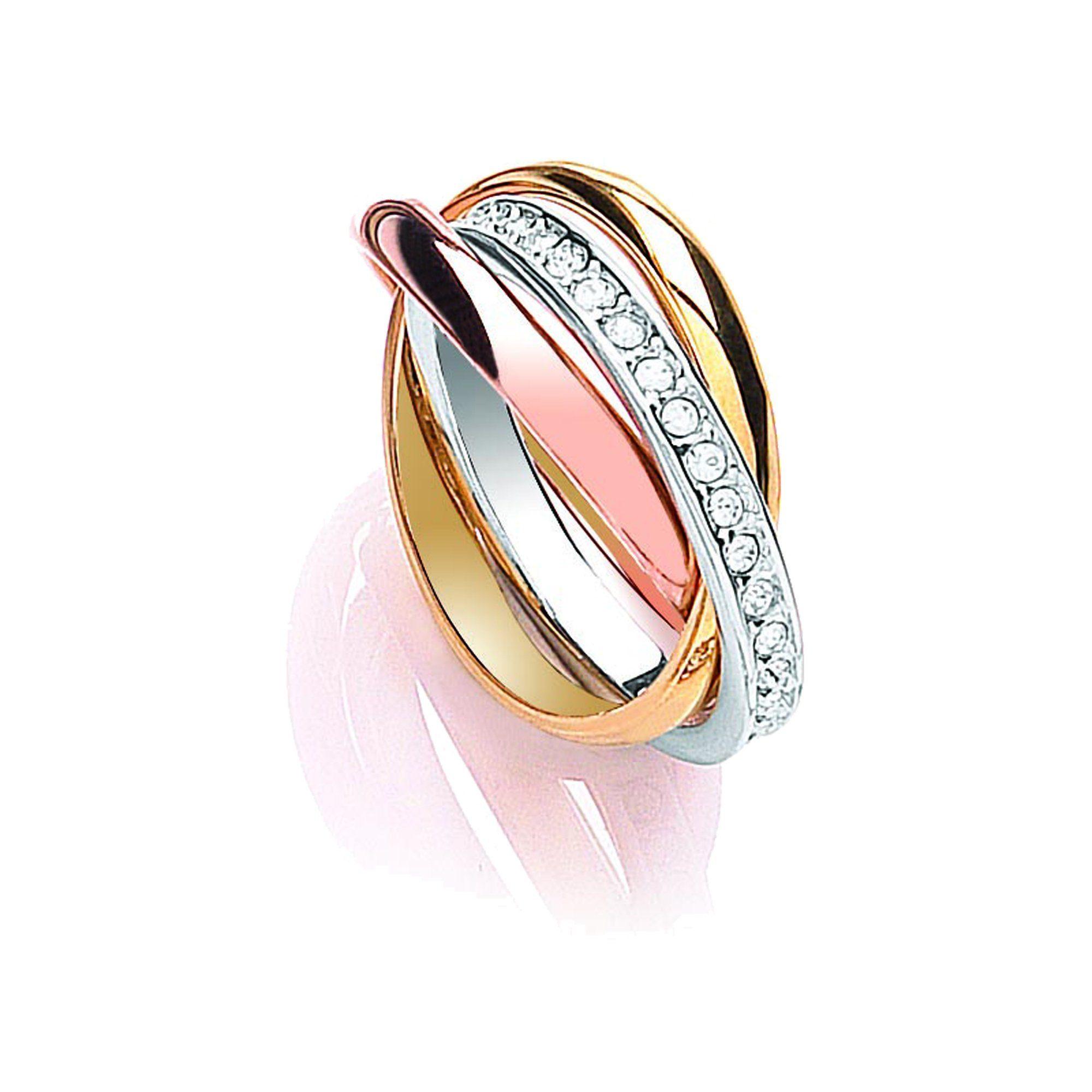 Buckley London Ring »dreifarbig mit Kristallen«