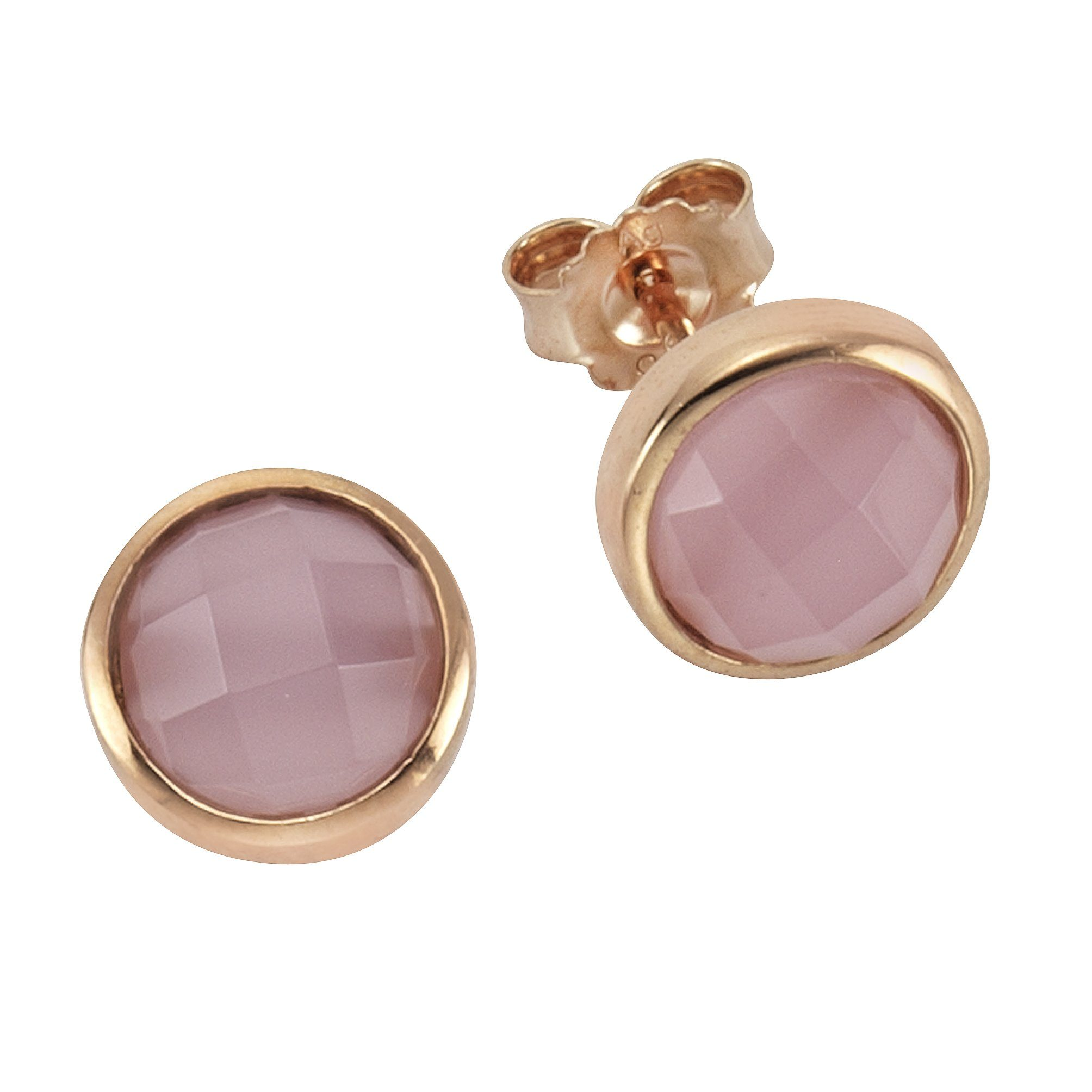 Zeeme Ohrstecker »925/- Sterling Silber Glasstein pink«