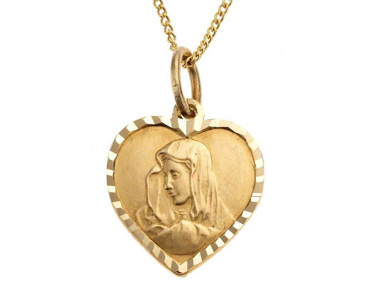 Zeeme Anhänger mit Kette »333/- Gelbgold Herz Madonna«   Schmuck > Halsketten > Herzketten   Gelb   Stein   Zeeme