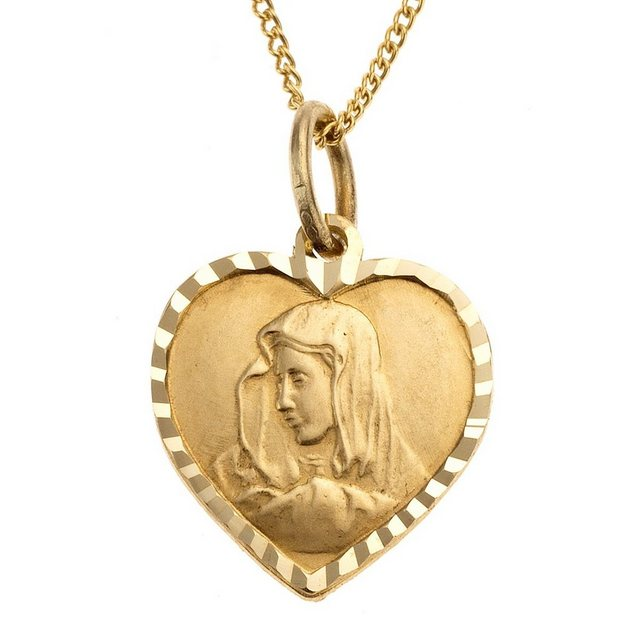 Zeeme Anhänger mit Kette »333/- Gelbgold Herz Madonna« | Schmuck > Halsketten > Herzketten | Gelb | Zeeme