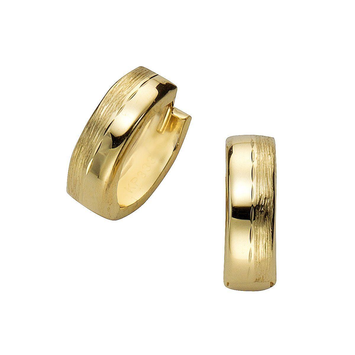 CELESTA Creolen »333/- Gelbgold matt/diamantiert«