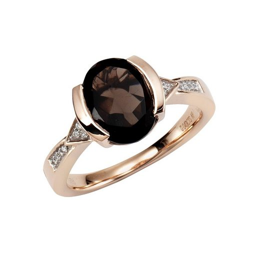 Diamonds by Ellen K. Ring »375/- Gold Rauchquarz mit Diamant 0,04ct.«