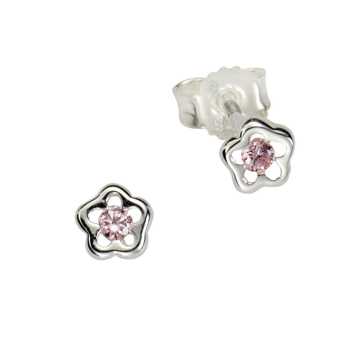 Zeeme Ohrstecker »925/- Sterling Silber Kristall pink«