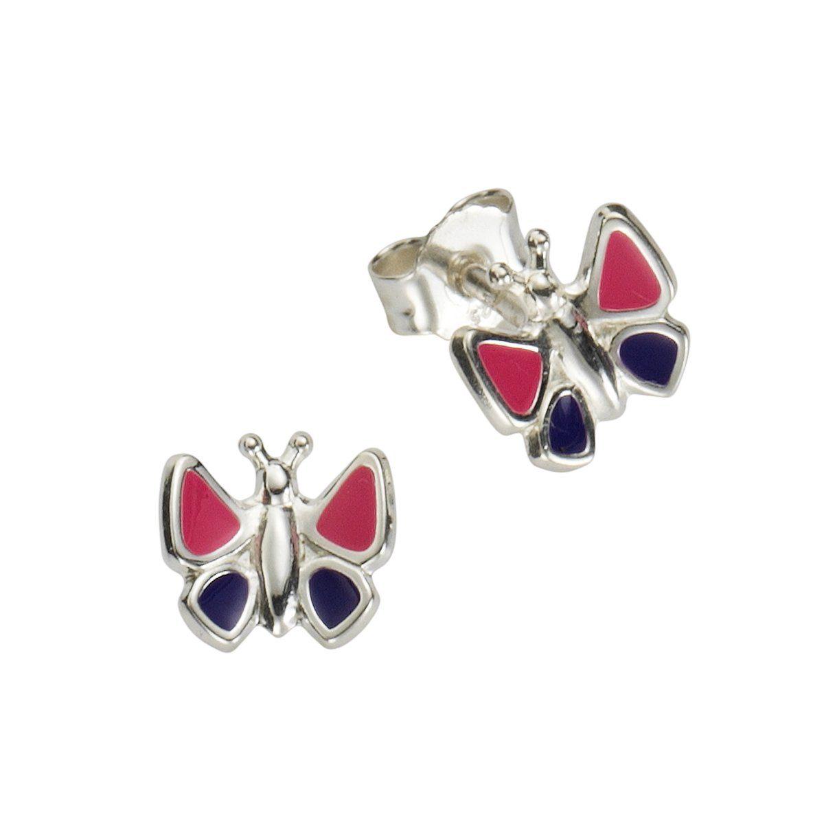 Zeeme Ohrstecker »925/- Sterling Silber Lack lila pink«