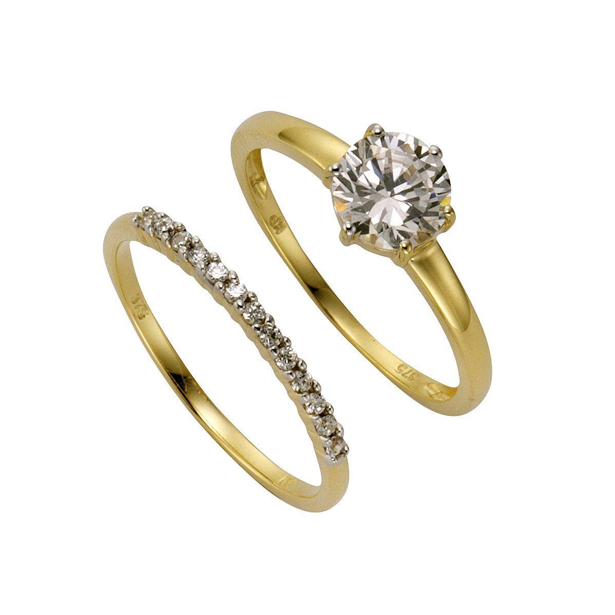 CELESTA Ring-Set »375/- Gelbgold Zirkonia«