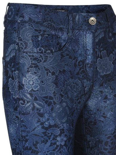 Mocca by J.L. 5-Pocket-Hose mit Laceprint