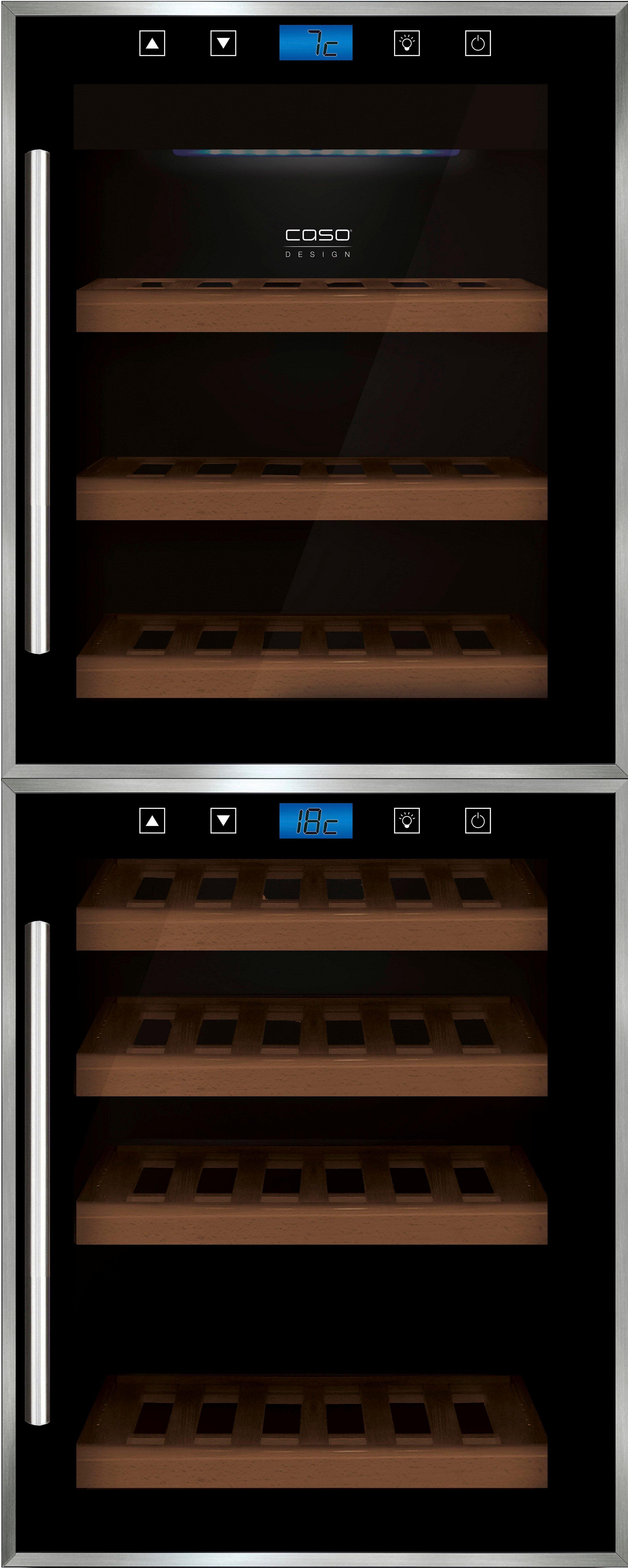 Caso Weinkühlschrank Caso WineComfort Touch 38-2D, für 38 Standardflaschen á 0,75l,A, 104 cm hoch, Design-Gerät