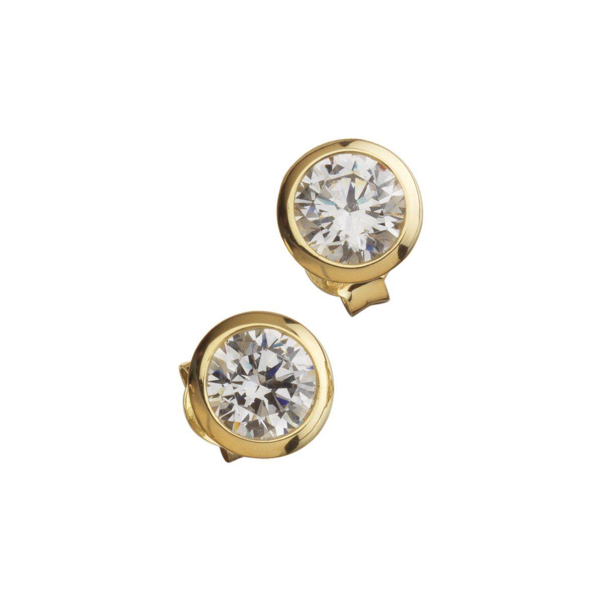 CELESTA Ohrstecker »925/- Sterling Silber gelbvergoldet Zirkonia«