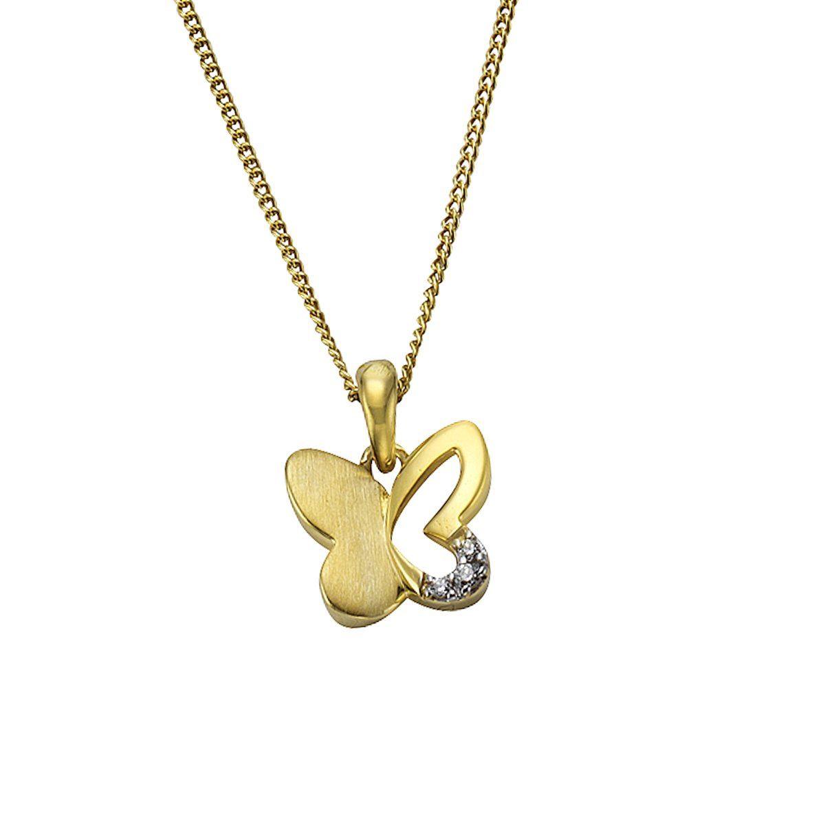 Zeeme Anhänger mit Kette »333/- Gold bicolor Schmetterling«
