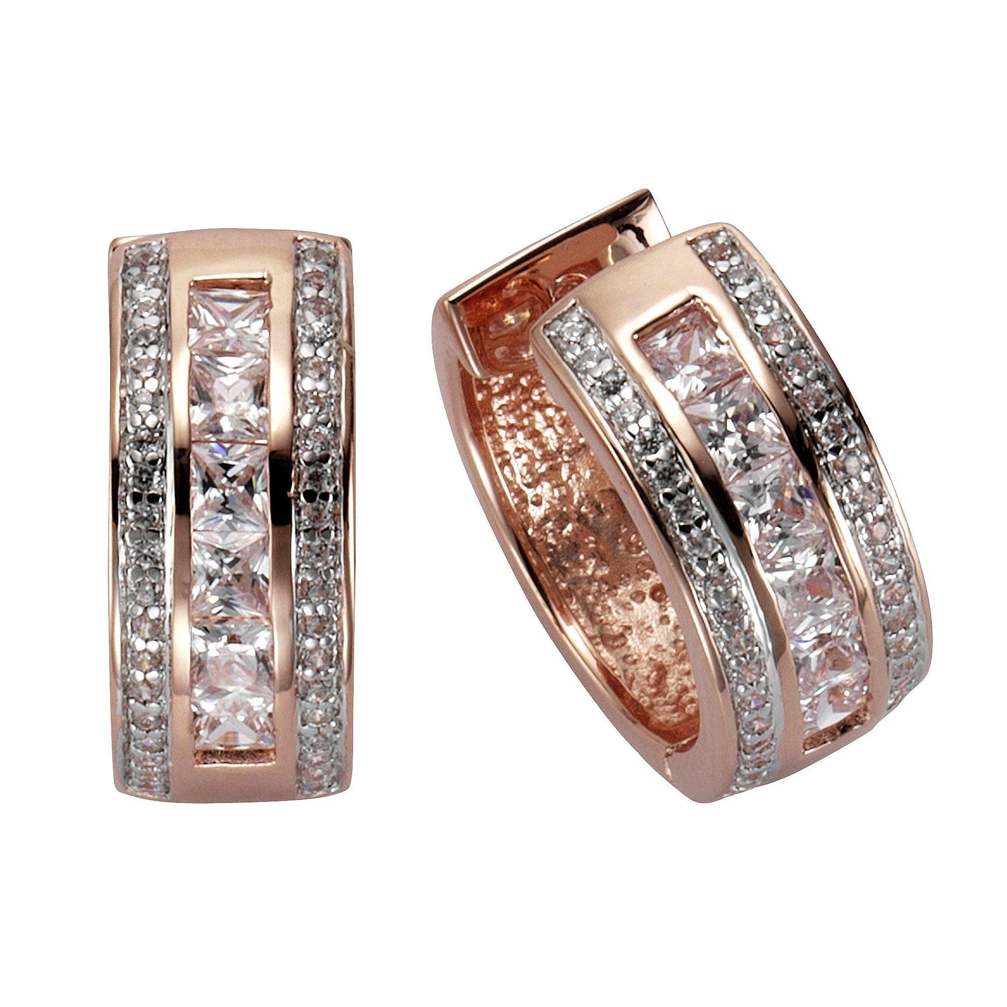 CELESTA Klappcreolen »925/- Sterling Silber rosévergoldet Zirkonia«