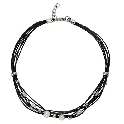 Zeeme Collier »Leder schwarz Stahlkugeln und Perle«
