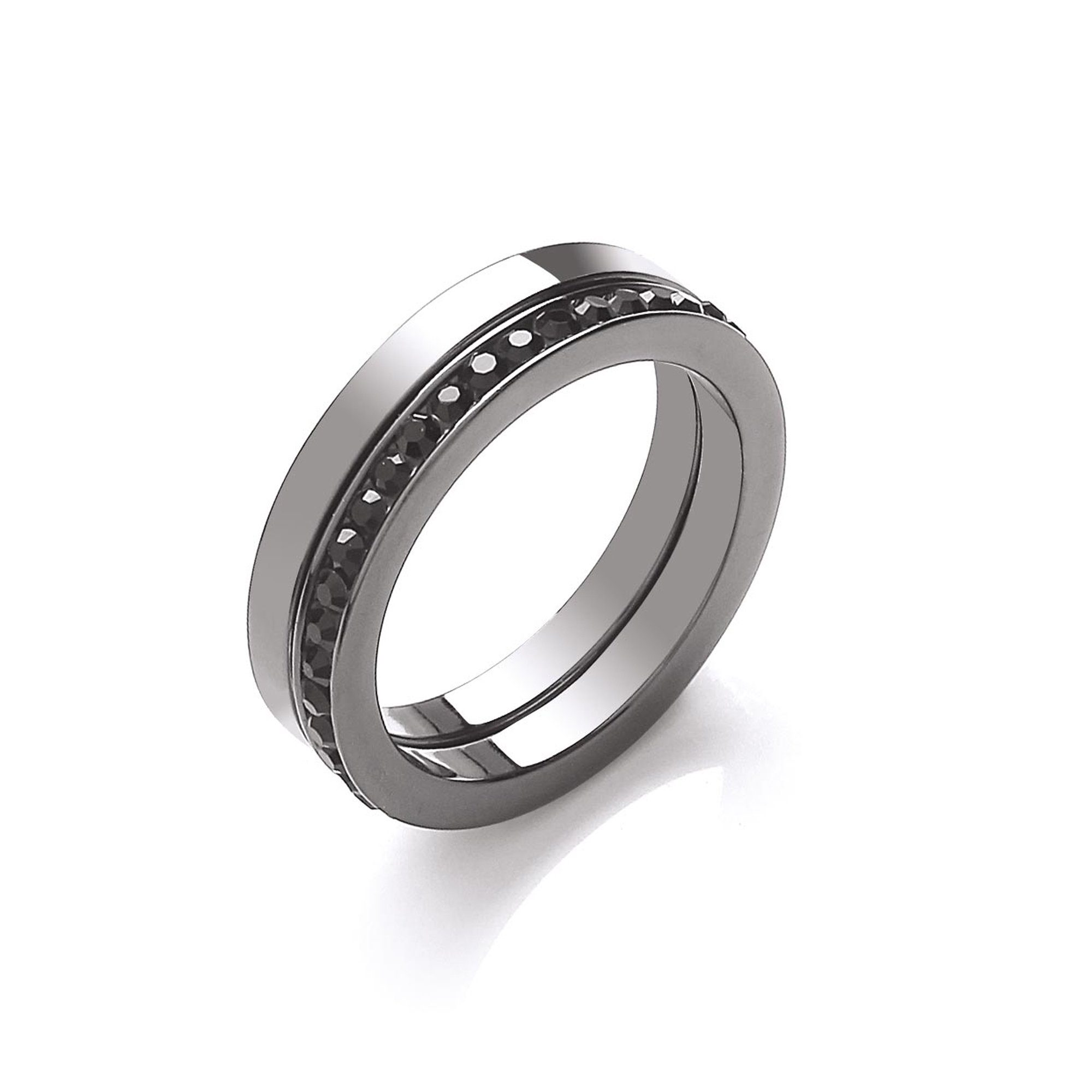 Buckley London Ring »schwarz rhodiniert mit Kristallen«