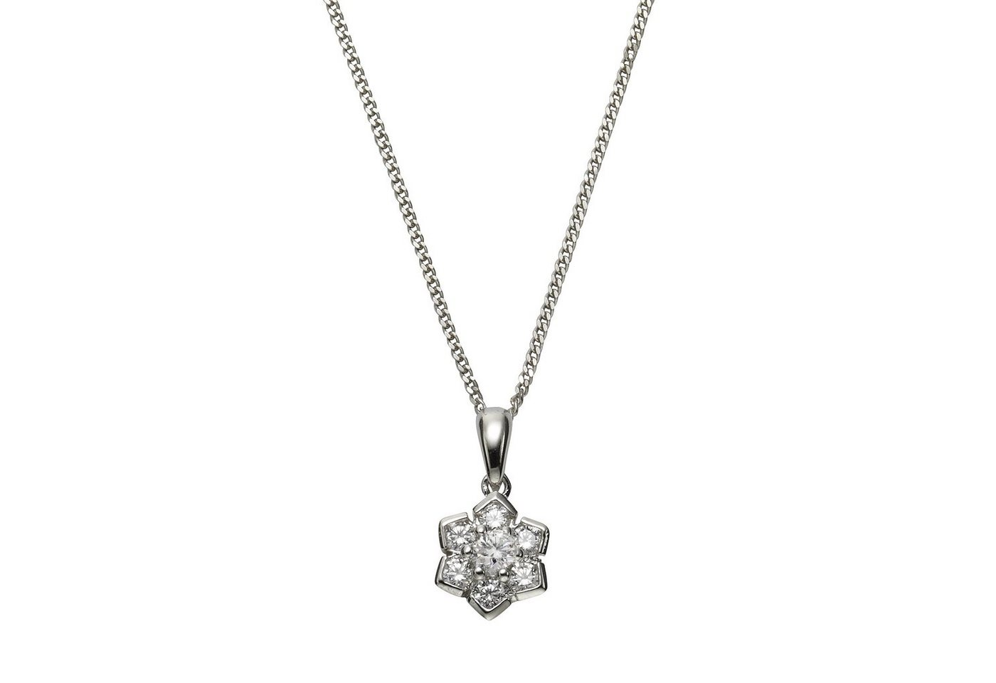 Zeeme Anhänger mit Kette »925/- Sterling Silber Zirkonia weiß«   Schmuck > Halsketten   Weiß   Zeeme