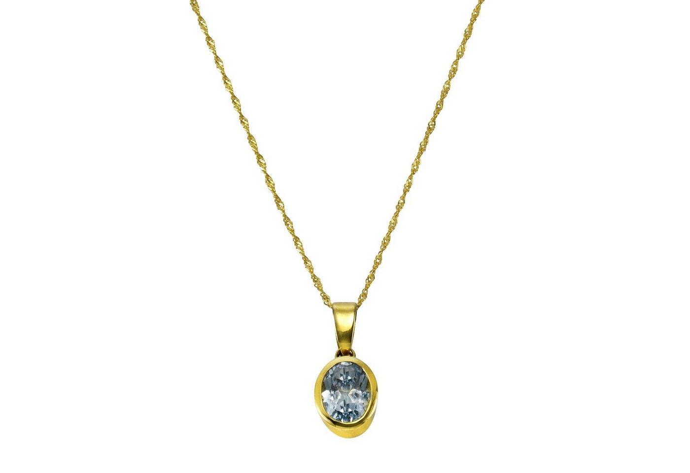 CELESTA Anhänger mit Kette »375/- Gelbgold Blautopas (beh) & Zirkonia«   Schmuck > Halsketten > Goldketten   Gelb   CELESTA